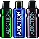 Adiction Strong Deodorant Body Spray 150ml - Pack Of 3 Combo Set (All 3 Fragrances)