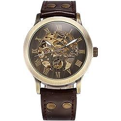 AMPM24 Men's Steampunk Bronze Skeleton Self-Winding Auto Mechanical Leather Wrist Watch + AMPM24 Gift Box PMW198