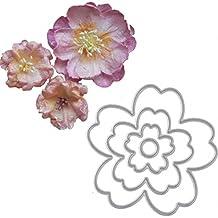 Brussels08 4 plantillas de corte de metal con diseño de flores para manualidades, tarjetas de