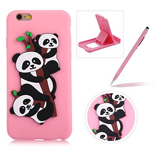 Coque iPhone 6S Plus Silicone, Herzzer Mignon 3D Panda Motif Design Étui Housse de Protection pour iPhone 6 Plus Soft Doux TPU Gel Backcover Ultra Mince Léger Flexible Téléphone Portable pour iPhone 6 Plus/ iPhone 6S Plus (5,5 Pouces) -- Rose