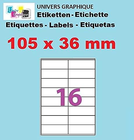 100 Planches de 16 étiquette autocollante 105 x 36 mm = 1600 etiquettes - Blanc Mat - pour imprimantes Laser et Jet d'encre - Feuilles A4 autocollantes référence univers UGE16V09