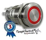 .drivezero. ToughSwitch '19 – Schalter Edelstahl (bis 230V / 5A) mit LED-Leuchtring Rot 12V, staub- und wasserdicht (IP67)
