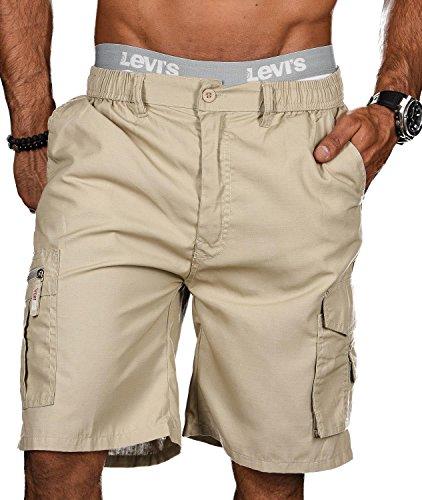 Stylische Herren Sommer Shorts kurze Hose Bermuda Short Knielang Dehnbund B413 [B413 - Beige - Gr.XXL] (Herren-stretch-cargo-shorts)