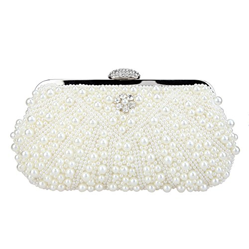 Bonjanvye Pearl Clutch Purses for Women Evening Bags and Clutches Lvory (Womens T-shirt Cut Person)