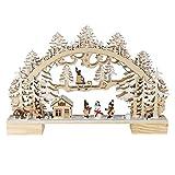 OBC Schwibbogen doppelt, LED Beleuchtung/Kinder und Schnemann Natur/Lichterbogen Erzgebirge Stil, handgefertigt/Deko zu Weihnachten