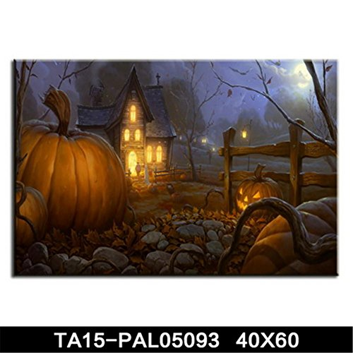 ZTYR Quadro su tela Halloween decorazione zucca lanterna tela pittura
