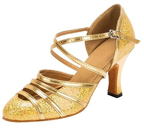 TDA , Bride de cheville femme 8cm Heel Glitter Gold