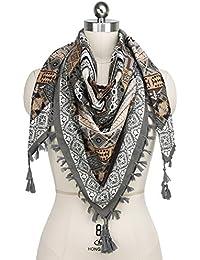 iShine Femme Echarpe Carré avec Impression Foulard en Style Bohême 110    110cm Châle Coloré Légère a930fa451a0