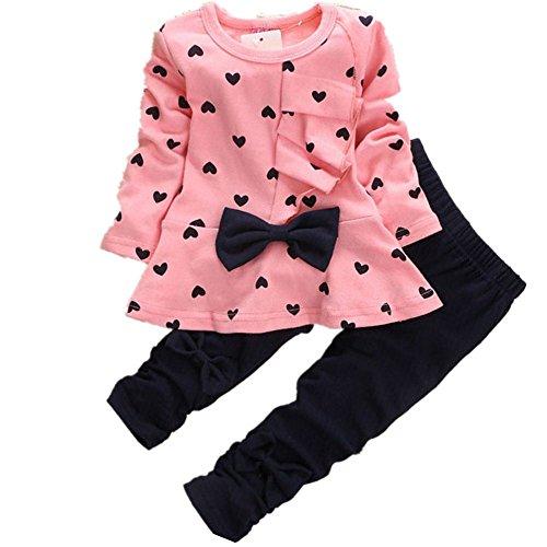 sunnymi Mode Nette ★ Mädchen Herzförmige Bowknot Set ★Baby 2PCS Scherzt Kleidung (0-3 Monate, Rosa)