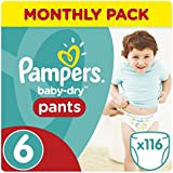 Pampers Baby-Dry 116 Nappy Pants, Monthly Pack, 15+ kg, Size 6