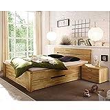 Pharao24 Massivholzbett aus Wildeiche Schubladen Breite 210 cm Ohne Liegefläche 200x200