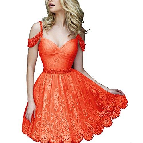 Find Dress Femme Elégant Style Sexy Robe de soirée/Cocktail/Mariage Courte Hors de L'épaule en Dentelle avec des Perles Orange