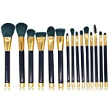 Kit di Pennelli Professionali per Il Make-Up, Pacchetto Perfetto Anche Come Idea Regalo, Trucco Kabuki Alta qualità,15 Strumenti di Bellezza Pennello Blu con Manico Nero