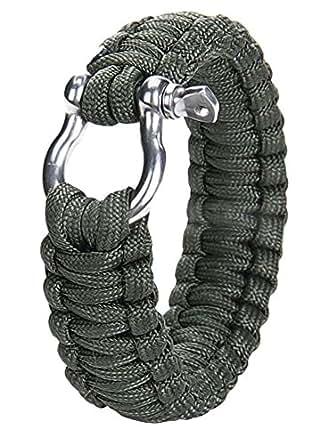 niceEshop(TM) Outdoor Paracord Survival Bracelet with Zinc Alloy Bow Shackle,Atrovirens
