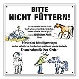 Comic-Schilder.de Boxenschild/Stalltafel Bitte nicht füttern (Offenstall/Koppel)