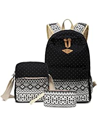 Abshoo Canvas Dot Backpack Cute Lightweight Teen Girls Backpacks School  Shoulder Bags (Black) a93ad0bd9ad8c