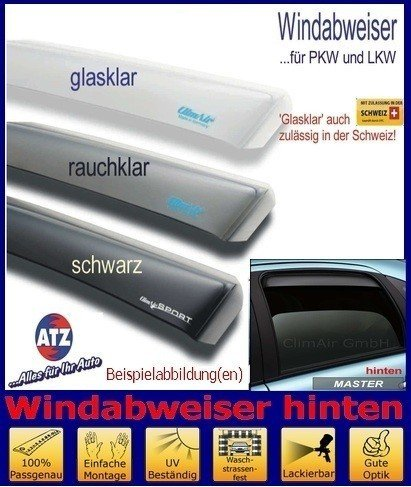 Tuning-Pro Climair Windabweiser hinten 04-4351K, Farbausführung: klar