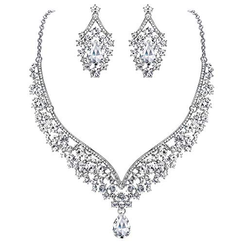 Ever Faith® österreichischen Kristall V-Form Halskette Ohrring Schmuck Set - klar-Silber-Ton N01911-9