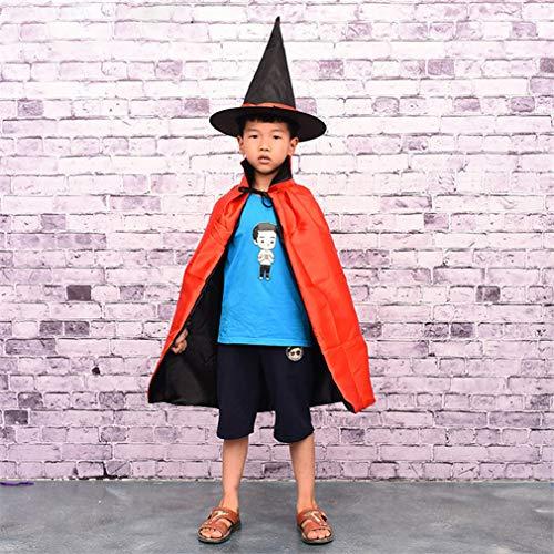 Hmjunboys Halloweenkostüm Umhang Hexe Zauberer Cape mit Hut für Kinder Halloween Kostüm Zubehör - Rot