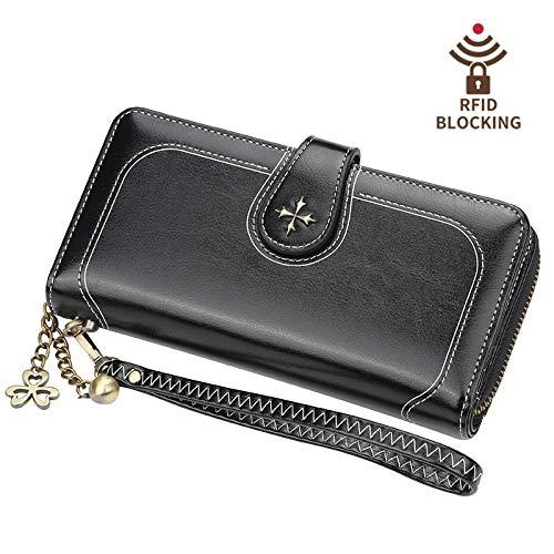 Frauen RFID blockiert große Wachs Leder Clutch Wallet Kartenhalter Damen Geldbörse