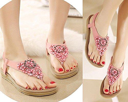 Minetom Femmes Été Bohemian Faux Diamant Floral Peep Toe Sandales Chaussons T-Sangle Flip Flops Tongs Plat Chaussures Plage Rose