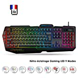 EMPIRE GAMING - Clavier Gamers K900 - Semi-Mécaniques - Rétro-Eclairage LED RGB (9 Modes) - 19 Touches Anti-Ghosting - 12 Raccourcis Multimédia - 3 Macros Programmables - Repose-Poigné - USB Filaire