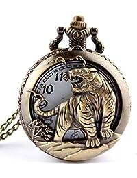 RONGHUIDA del símbolo zodiacal chino del hombre de cuarzo reloj de bolsillo collar con colgante de diseño de cadena