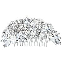 EVER FAITH® Austrian Crystal Ivory Color Simulated Pearl Rose Flower Hair Comb A11511-1