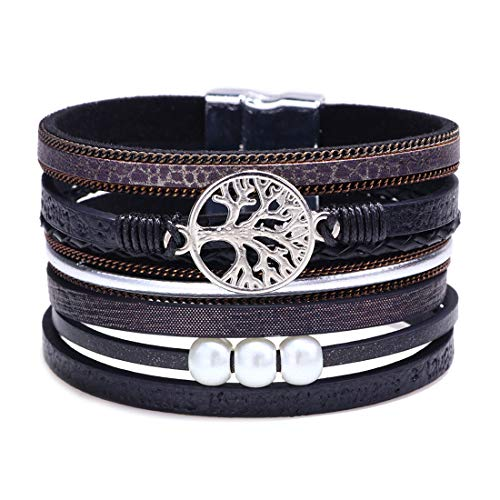 ULGAI Baum des Lebens Leder Manschette Armband, gravierte Leder Wrap Bangle mit Perle für Frauen Teen Geschenk, handgemachte Armband Wrap Armband mit Magnetschnalle, EINWEG Verpackung (Schwarz) - Perlen-wrap Armband Leder Und