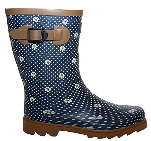 A&H Footwear  Katrina,  Mädchen Damen Arbeits-Gummistiefel Navy/Brown Spots