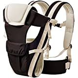BabyGo Soft Adjustable 4-in-1 Baby Carrier with Comfortable Head Support & Buckle Straps (Black)