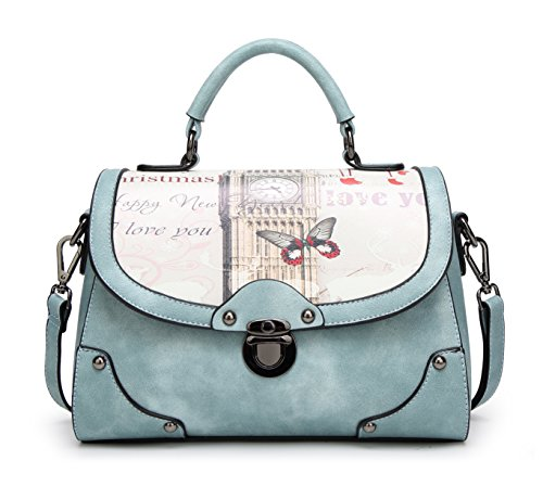 - 51fE5OxTjDL - The Best Gift Ladies Leather Vintage Handbags Designer Cross-body Handles Bag with Bow For Women (Blue)