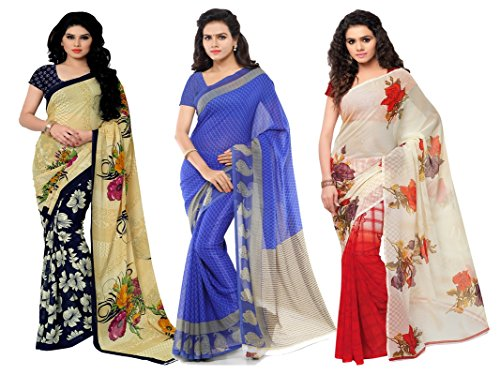 Kashvi Sarees Faux Georgette Multi Color Printed Pack Of 3 Saree With...