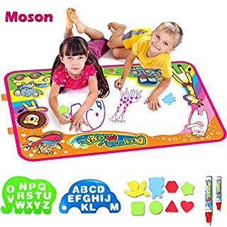 Moson Water Drawing Mat, Drawing Painting Doodle Mat Aqua Magic Mat, Ideal Kids Toys Toddlers Painting Board Writing Mats with 2 Magic Pens and Letter Templates for Boys Girls Gift Size 34.5