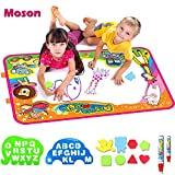 Moson Water Drawing Mat, Drawing Painting Doodle Mat Aqua Magic Mat, Ideal Kids Toys Toddlers Painting Board Writing Mats with 2 Magic Pens and Letter Templates for Boys Girls Gift Size 34.5\