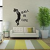 Beautyjourney Balle Est Vie Sport Jouer Basket-Ball Wall Sticker Mural DéCor DéCalque Amovible Stickers Muraux Citations En Francais Stickers Muraux Chambre Adulte Tete De Lit (A)