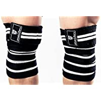 Vendas elásticas para rodillas. Soporte de rodilla elástico y resistente para sentadillas, levantamiento de potencia y levantamiento olímpico, estuche GRATIS