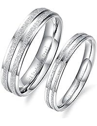 1 par (2 piezas) de anillos, de iLove EU, de amistad, para parejas, de compromiso, doble arenados, acero inoxidable,…