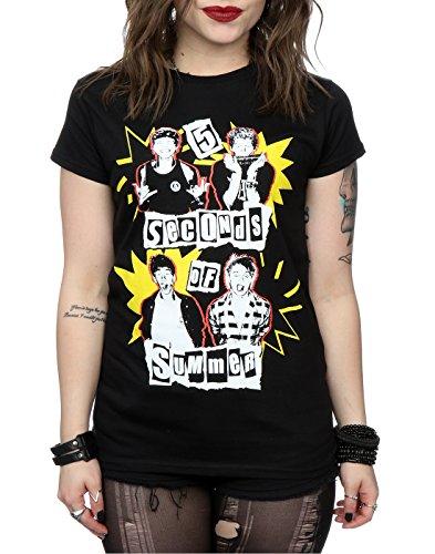 5 Seconds of Summer Femme Yellow Stars T-Shirt Noir