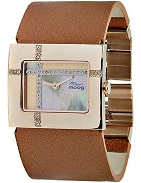 Moog Paris Mondrian Damen Uhr mit Goldenem Perlmutt Zifferblatt, Swarovski Elements & Braunem Armband aus echtem...