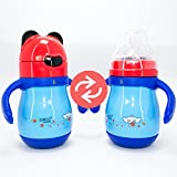 Rachna's Interchangeable Food Grade Stainless Steel Thermos Flask Silicone Straw Water Bottle + Natural Shape Silicone Nipple Bouncing Straw Baby Feeding Bottle With Handles - 9056 - Blue + Red - 220ML (6 Hours Hot-Cold Temperature Maintenance Guaranteed)