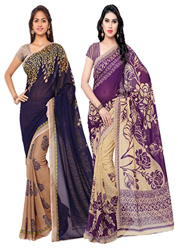 Anand Sarees Faux Georgette Combo Of Saree(Multicolor_Free Size)