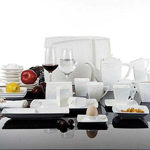 Malacasa, Serie Rebeca 40W, 40 teilig Set Porzellan Frühstück Geschirrset Tafelservice...