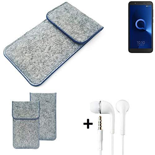 K-S-Trade® Filz Schutz Hülle Für -Alcatel 1C Single SIM- Schutzhülle Filztasche Pouch Tasche Handyhülle Filzhülle Hellgrau, Blauer Rand + Kopfhörer
