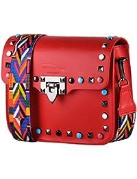 vendita calda online 15a06 d0534 Amazon.it: borsa tracolla con borchie - Rosso / Donna ...