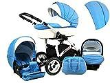 +++ SALE Raff White Lux System Kinderwagen Babywagen Buggy, Autositz Kinderwagen System 3 in1 + Wickeltasche + Regenschutz +Insektenschutz (Set 3w1: Wanne + Sportsitz + Babyschale, Ocean Blue)
