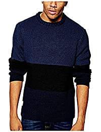 Native Youth Men's Waffle Stitch Panel Jumper, Navy Blue, Size Small
