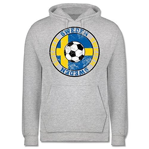 EM 2016 - Frankreich - Sweden Kreis & Fußball Vintage - Männer Premium Kapuzenpullover / Hoodie Grau Meliert