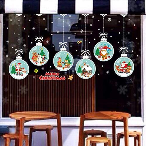 Weihnachts Fensteraufkleber, Schneeflocke weihnachtsmann Schneemann Elch, DIY 3D Wandaufkleber - Yves25Tate (Color : F, Size : -)