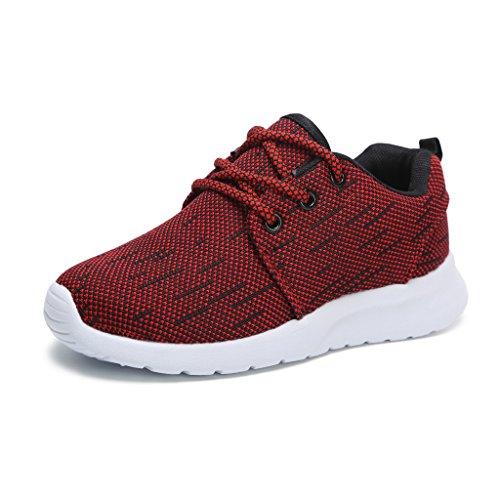 Hawkwell Unisex Kinder/Jugend Leicht Runing Sportschuhe Sneakers Laufschuhe Rot 34EU (Jugend-jungen Schuhe)